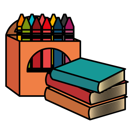 pile text books with crayons vector illustration design