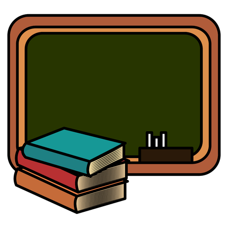 pile text books with chalkboard vector illustration design