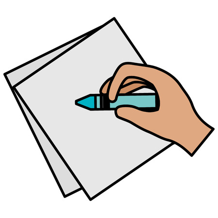 hand writing with crayon in notebook sheet vector illustration design