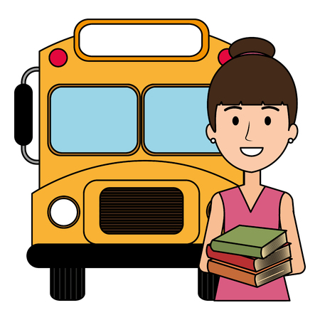 young girl student with bus character vector illustration design Illustration