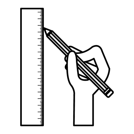 hand with pencil and rule vector illustration design