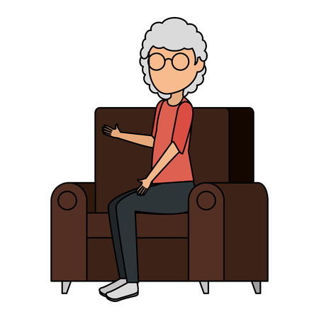 cute grandmother in the sofa avatar character vector illustration design