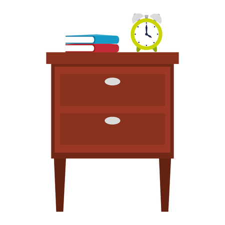 wooden drawer with books and alarm vector illustration design