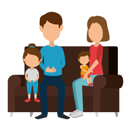 parents couple with daughter and son in the sofa vector illustration design