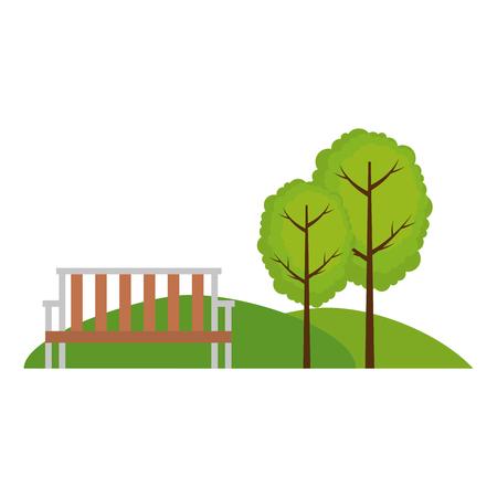 wooden chair in the park scene vector illustration design