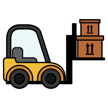 delivery forklift with carton boxes vector illustration design