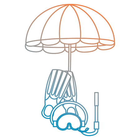 umbrella beach with snorkel and fins vector illustration design