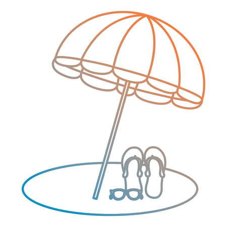 umbrella beach with sandals vector illustration design