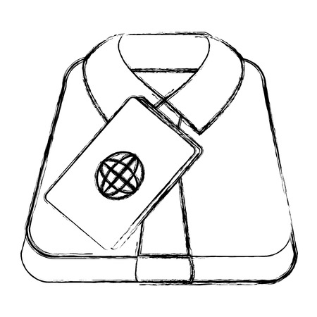 shirt and tie with passport document vector illustration design Stock Photo
