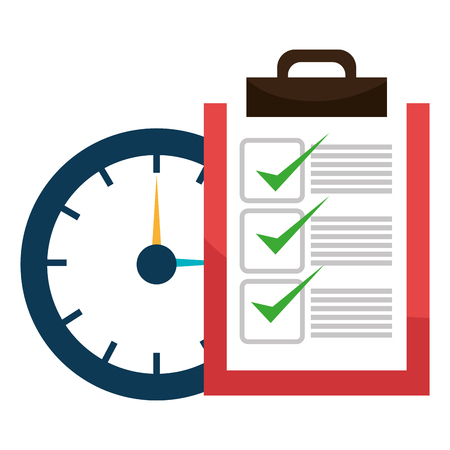 checklist clipboard with watch vector illustration design 写真素材