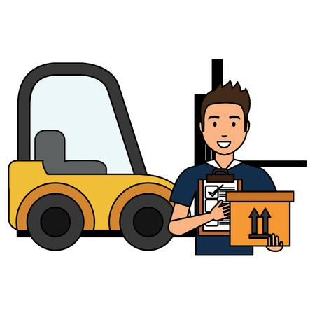 delivery worker with checklist and forklift vector illustration design Stock Photo