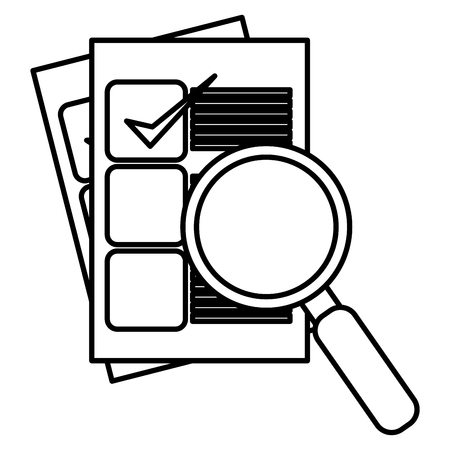 checklist with magnifying glass vector illustration design Banque d'images - 105554461