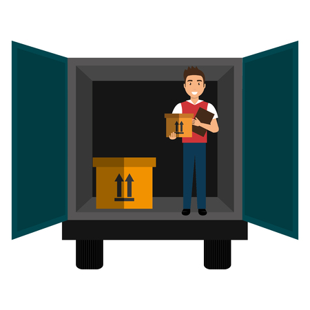 delivery worker with boxes and truck vector illustration design