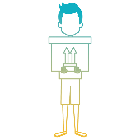 young man with delivery carton box vector illustration design Banque d'images