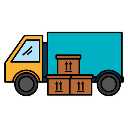 pile carton boxes with truck vector illustration design