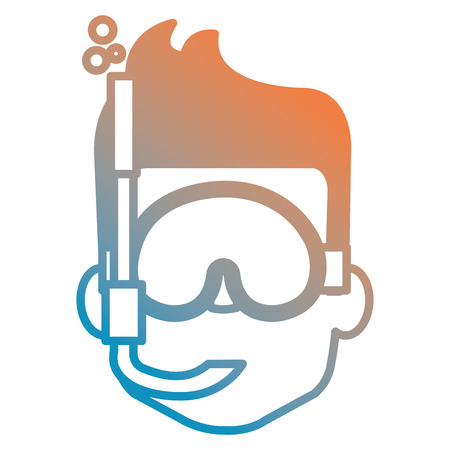 head young boy with snorkel vector illustration design