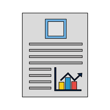 document file with statistics bars graphic vector illustration design