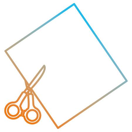 notebook paper sheet with scissors vector illustration design