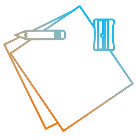 notebook paper sheet with pencil and sharpener vector illustration design Standard-Bild - 112381076
