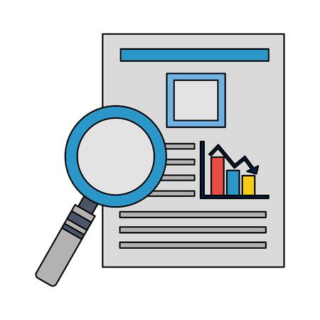 magnifying glass with documents files of statistics bars graphic vector illustration design Ilustração Vetorial