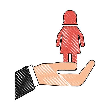hand with female gender silhouette vector illustration design Foto de archivo - 105636945