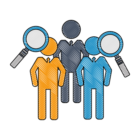 business men team work silhouettes with magnifying glasses vector illustration design Ilustracja