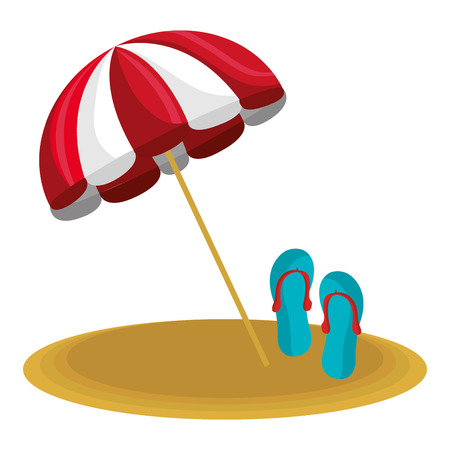 umbrella beach with sandals vector illustration design 版權商用圖片 - 112381106