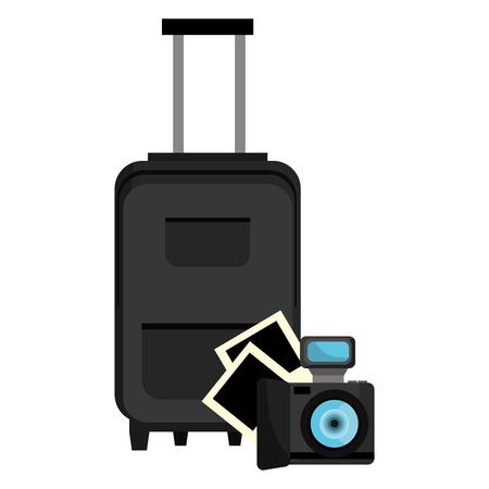 Maleta de viaje con cámara, diseño de ilustraciones vectoriales Ilustración de vector
