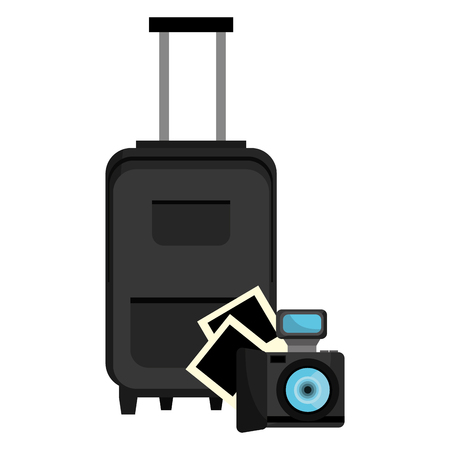 suitcase travel with camera vector illustration design
