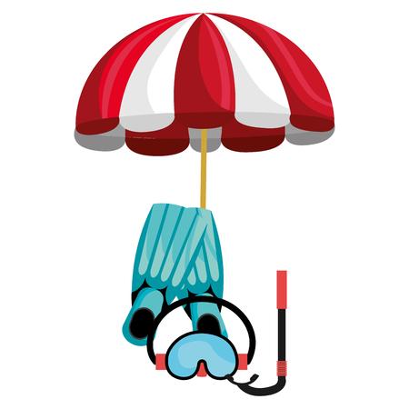 umbrella beach with snorkel and fins vector illustration design