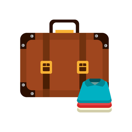 suitcase travel with clothes vector illustration design