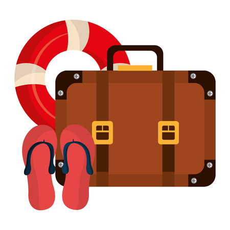 suitcase travel with sandals and float vector illustration design