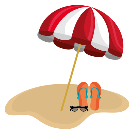 umbrella beach with sandals vector illustration design 写真素材 - 112381118