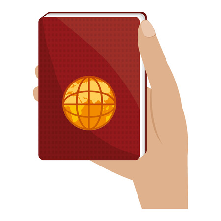 hand with passport document vector illustration design Çizim