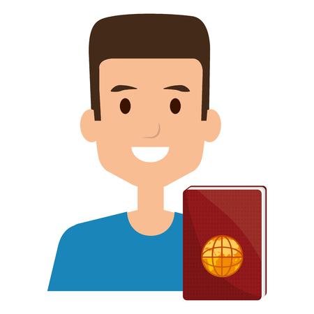 Joven con documento de pasaporte, diseño de ilustraciones vectoriales