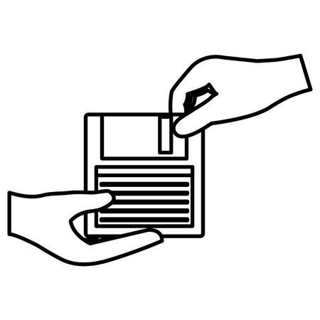mains avec conception d & # 39; illustration vectorielle disquette Vecteurs