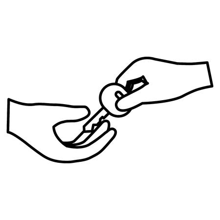 hand with secure key vector illustration design Ilustração