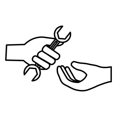 hand with wrench tool vector illustration design