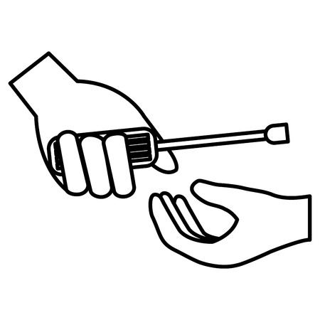 hand with screwdriver tool vector illustration design