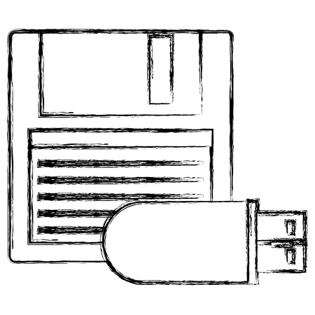 floppy disk with usb memory vector illustration design
