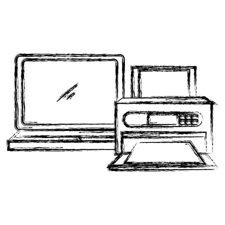 laptop computer with printer vector illustration design