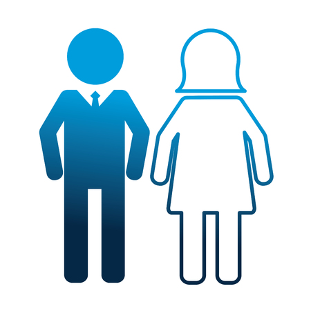 people pictogram man and woman vector illustration neon blue