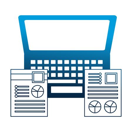 laptop office documents graphs report business vector illustration neon blue Ilustração