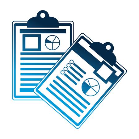 office clipboard document report diagram vector illustration neon blue Illustration