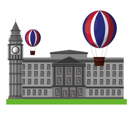 london clock station with air balloons icon vector illustration design Banque d'images - 105535419