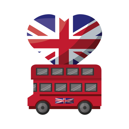bus transport with flag in shape heart of great britain icon vector illustration design