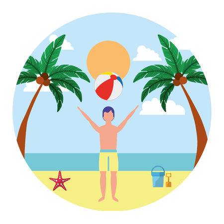 man with swimsuit in the beach icon vector illustration design Illustration