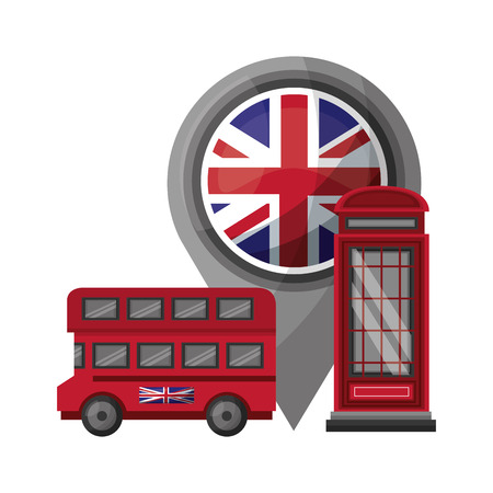 bus transport of great britain with set icons vector illustration design  イラスト・ベクター素材