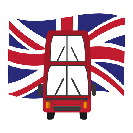 bus transport with flag of great britain icon vector illustration design Stock Illustratie