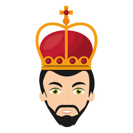 head king with crown vector illustration design